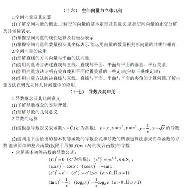 全国新课标高考理科数学考试大纲(完整)